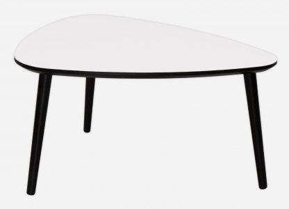 Plektor sofabord her vist med hvid laminat, sort kant og bordben