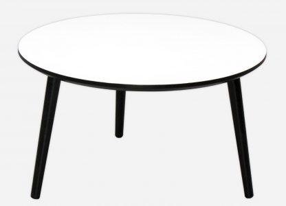 Rundt sofabord her vis med hvid laminat, sort kant og bordben