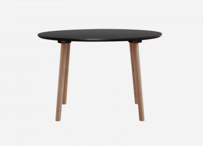 Rund spisebord med antracit bordplade, sort kant og egetræsben