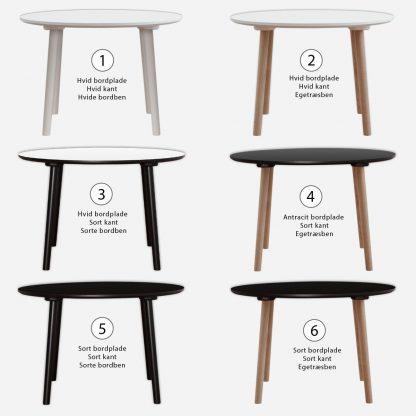 Runde spiseborde i forskellige varianter