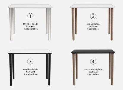Varianter af skrivebord uden skuffer