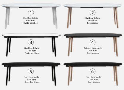Rundt spisebord med udtræk i 6 varianter