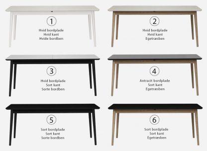 Firkantet spisebord med udtræk her vist i 6 flotte varianter