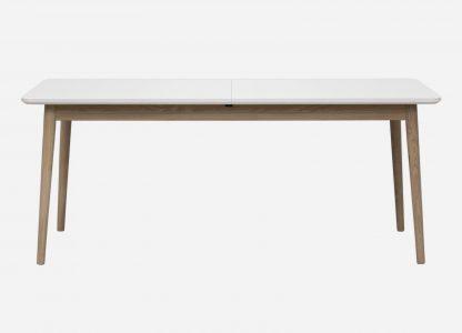 Firkantet spisebord med udtræk og hvid laminat og egetræsben
